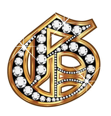 english culture: G gold and diamond bling old vintage letter Illustration
