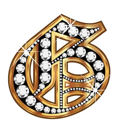 old letter: G gold and diamond bling old vintage letter Illustration