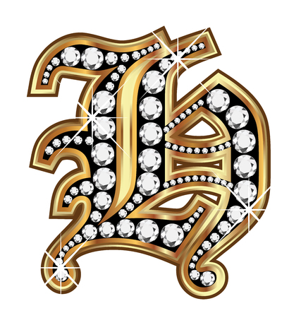upper school: H gold and diamond bling old vintage letter