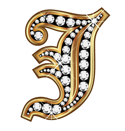 english culture: J gold and diamond bling old vintage letter