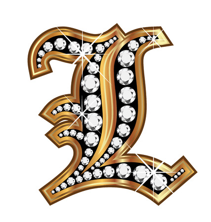 L gold and diamond bling old vintage letter