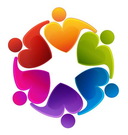 Image de l'amour de coeur icône vecteur de l'identité de l'esprit d'équipe de carte de visite