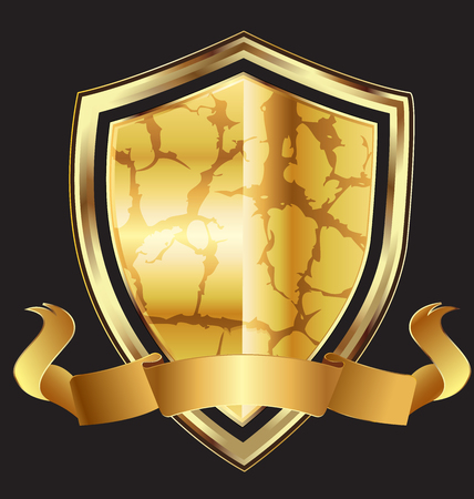 Abstract gold shield with ribbon design