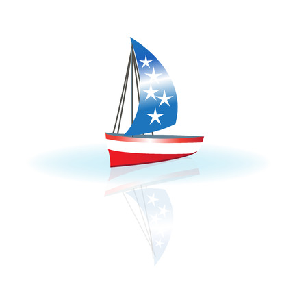 ships: Boat USA flag concept of patriot celebration image