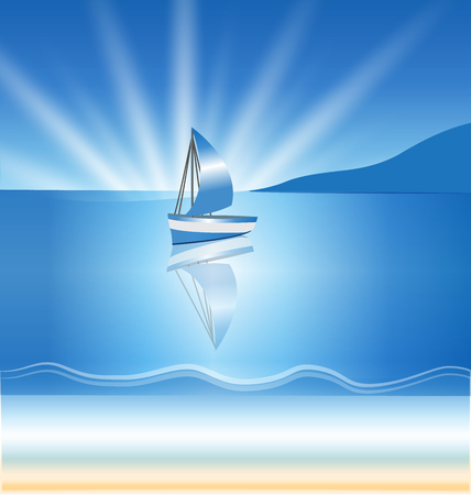 Boat waves and sun ocean beach picture background