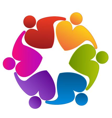 together voluntary: Teamwork heart love hugging people