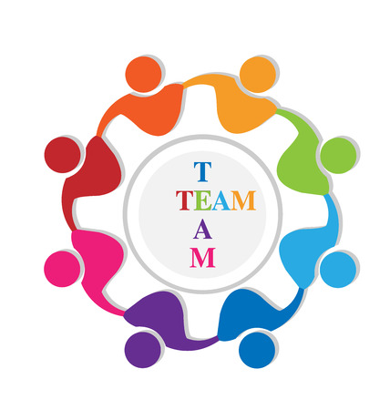 together voluntary: Teamwork people around world with team word logo vector