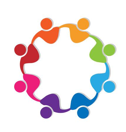 Teamwork mensen knuffelen vriendschap concept, unie, solidariteit logo vector Stock Illustratie