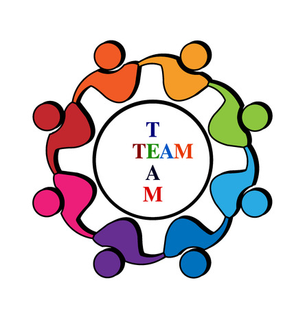 hands holding heart: Teamwork people with team text logo vector
