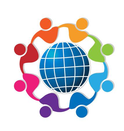 together voluntary: Teamwork people around world logo vector