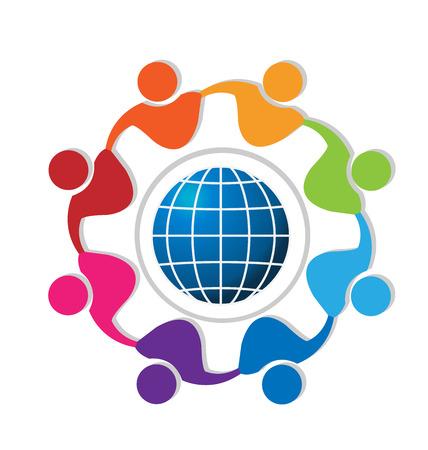 segurar: Trabalho em equipa de pessoas ao redor do logotipo mundo vector