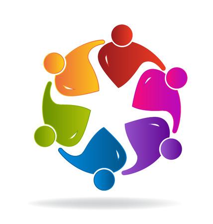 embraced: Teamwork logo social media people in a hug vector image