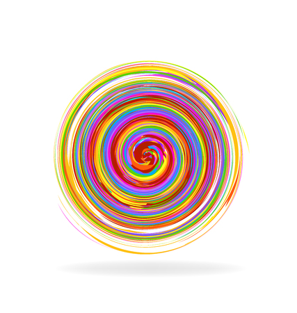 abstract logos: Abstract spiral waves rainbow color logo vector image