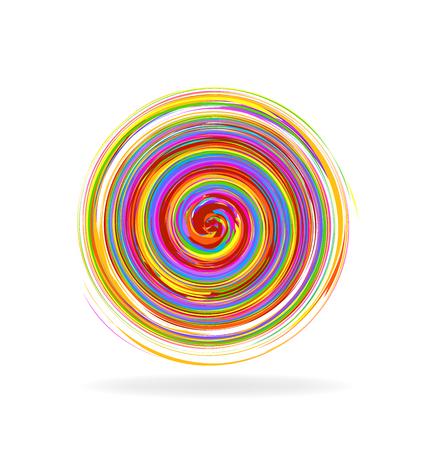 espiral: Ondas espirales abstractas color del arco iris imagen del logotipo del vector Vectores
