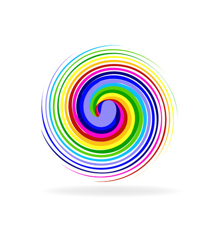 torment: Abstract spiral waves rainbow color logo vector image