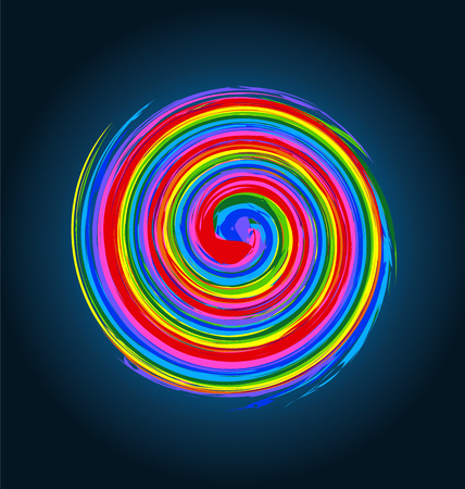 energy logo: Abstract spiral waves rainbow color vector image background logo