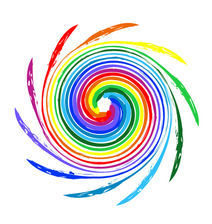 rainbow sphere: Abstract spiral waves rainbow color logo vector image