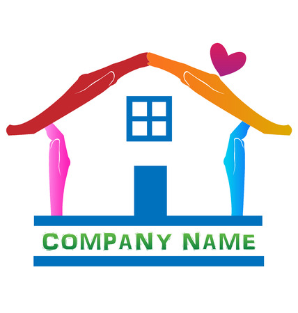 home logo: Abstract blue house hands identity business card logo