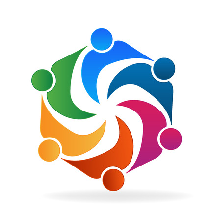 hand holding id card: Teamwork logo business social media people in a hug vector image