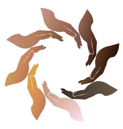 Soins des mains logo teamwork gens autour de cercle illustration vectorielle
