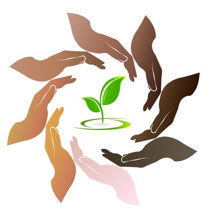 multi cultural: Hands care ecology logo teamwork people around circle vector illustration