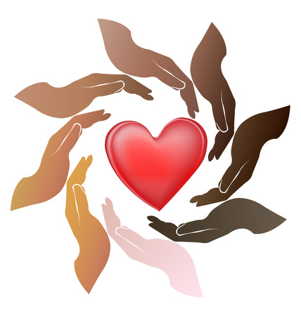 multi cultural: Hands care a love heart teamwork people around circle logo vector illustration