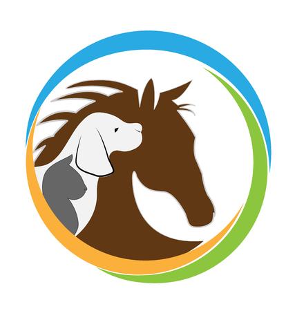 veterinario: Perro logotipo del gato Veterinaria y el diseño gráfico del caballo Vectores