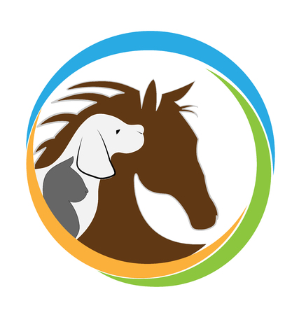 Veterinary logo cat dog and horse graphic design