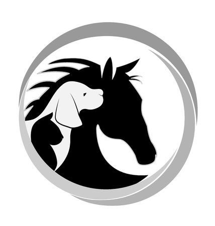 Dog cat and horse logo design vector image
