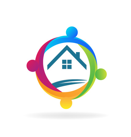 house logo: Teamwork people around a house logo vector design