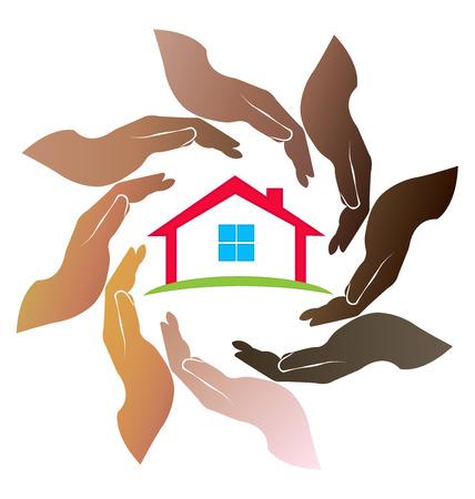 diversidad: Cuidado de las manos un dulce gente casa de trabajo en equipo de todo círculo ilustración vector logo Vectores