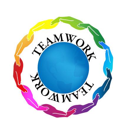 identidad cultural: Trabajo en equipo logotipo de negocios gente de los medios sociales imagen vectorial en un abrazo