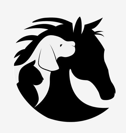 犬猫と馬のロゴ デザイン ベクトル画像  イラスト・ベクター素材