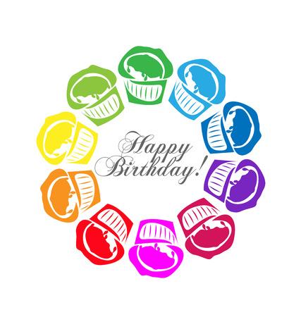 fairycake: Cupcakes Happy Birthday design Illustration