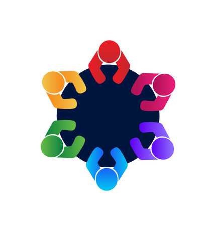 vector image: Teamwork workers and employees in a meeting logo  vector image