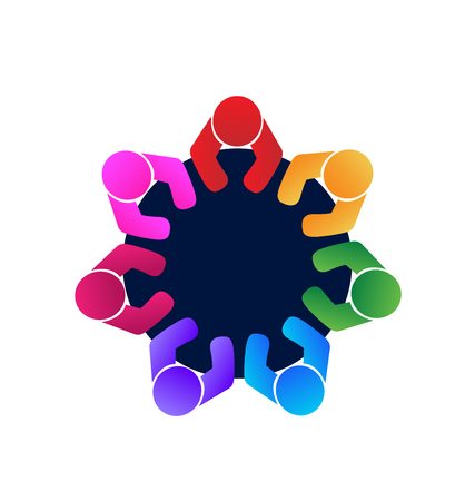 non stock: Teamwork workers and employees in a meeting logo  vector image