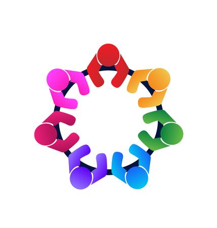 sentarse: Trabajo en equipo trabajadores y empleados una imagen vectorial logo reunión en