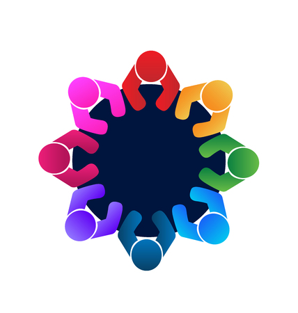 round table: Teamwork workers and employees in a meeting logo  vector image