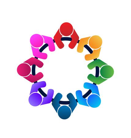 la union hace la fuerza: Trabajo en equipo trabajadores y empleados una imagen vectorial logo reunión en