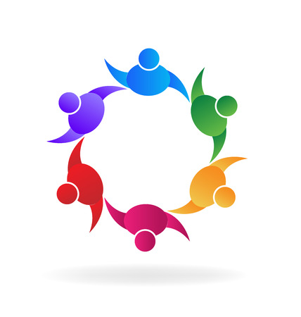 通訊: 團隊合作的人舉起手來的友誼概念問題標誌矢量圖像 向量圖像