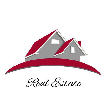 Real estate red house logo vector design