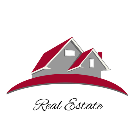 for sale sign: Real estate red house logo vector design