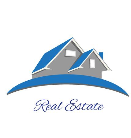 bienes raices: Inmobiliario casa logotipo azul de diseño vectorial