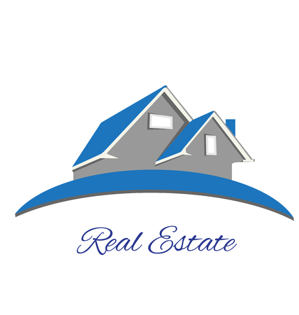 real estate house: Real estate blue house logo vector design