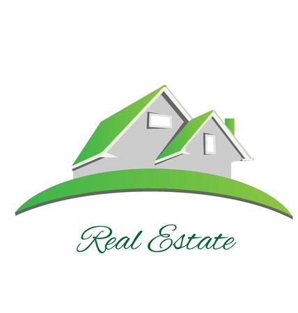 Bienes raíces insignia de la casa verde de diseño vectorial