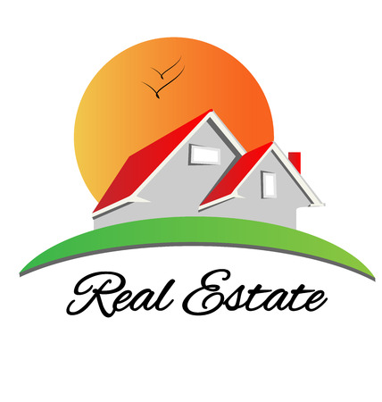 Real estate red house with sun and birds logo vector design