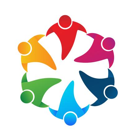 Teamwork people holding hands around vector image logo design
