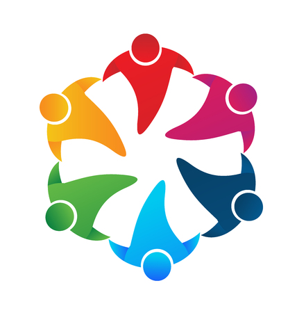 Teamwork people holding hands around vector image logo design