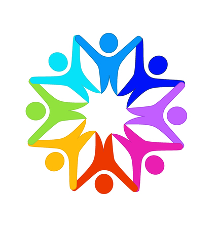 Logo happy teamwork people hands up star shape vector image Vettoriali