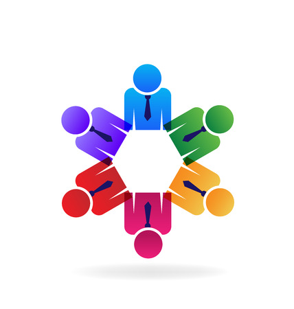 executives: Teamwork executives business people holding hands logo vector image